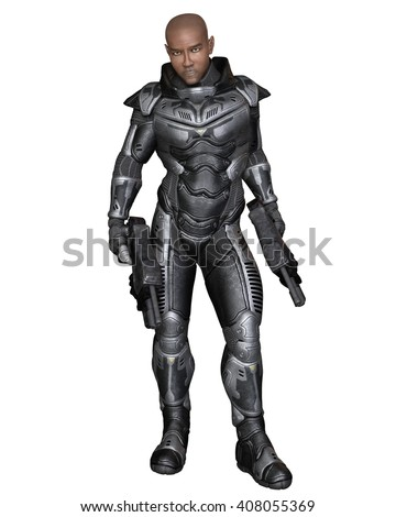 Science fiction illustration of a black male future soldier in protective armoured space suit, standing holding pistols, digital illustration (3d rendering)