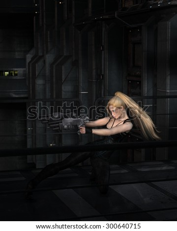 Science fiction illustration of a blonde female warrior character fighting in a dark city street at night, 3d digitally rendered illustration - stock photo
