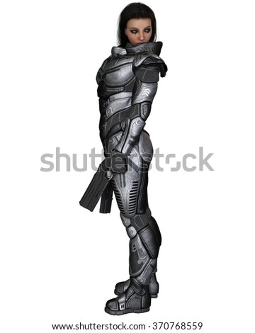 Science fiction illustration of a brunette female future soldier in protective armoured space suit, standing holding pistols, 3d digitally rendered illustration