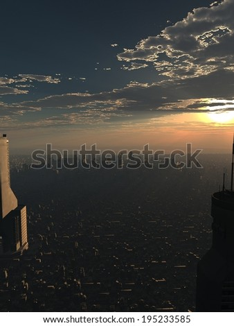 Science fiction illustration of a future city at dusk with the last sunset disappearing behind the clouds, 3d digitally rendered illustration - stock photo