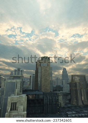 Science fiction illustration of a future city with storm clouds breaking up overhead and rays of sunshine, 3d digitally rendered illustration - stock photo
