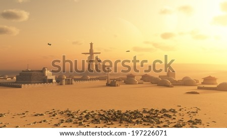 Science fiction illustration of a future colony settlement on Mars, 3d digitally rendered illustration - stock photo