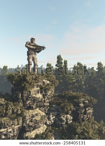 Science fiction illustration of a future marine ranger soldier standing on a rocky cliff keeping guard over the forest, 3d digitally rendered illustration - stock photo