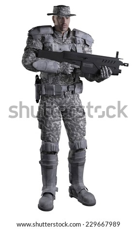 Science fiction illustration of a future marine ranger soldier wearing urban camouflage and carrying a rifle, 3d digitally rendered illustration