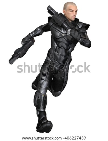 Science fiction illustration of a male future soldier in protective armoured space suit, running holding pistols, 3d digitally rendered illustration (3d rendering, 3d illustration)
