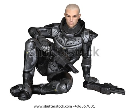 Science fiction illustration of a male future soldier in protective armoured space suit, sitting holding pistols, digital illustration (3d rendering)