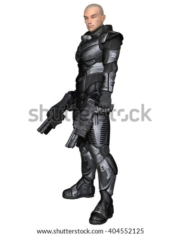 Science fiction illustration of a male future soldier in protective armoured space suit, standing holding pistols, digital illustration (3d rendering)