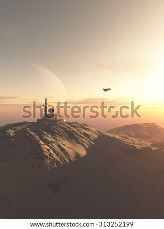 Science fiction illustration of a mountain-top research station outpost on an alien desert planet at sunset, 3d digitally rendered illustration