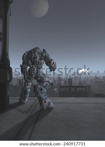 Science fiction illustration of a robot sentinel standing guard on a bridge over a future city at moon rise, 3d digitally rendered illustration - stock photo