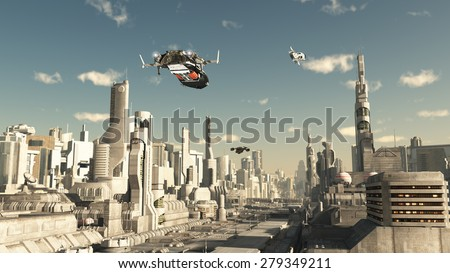 Science fiction illustration of a scout ship making a final approach to landing in a future city, 3d digitally rendered illustration - stock photo