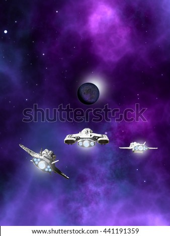 Science fiction illustration of a small fleet of three spaceships flying towards a dark planet and purple nebula in deep space, digital illustration (3d rendering) - stock photo