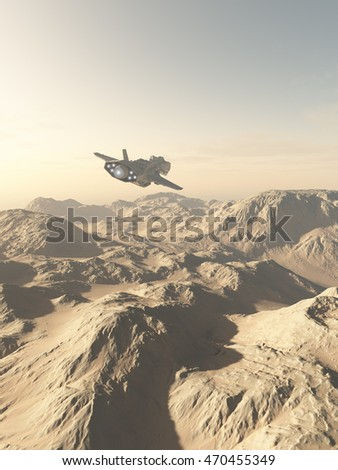 Science fiction illustration of a spaceship flying over the rocky mountains on a desert planet, digital illustration (3d rendering)