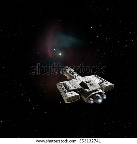Science fiction illustration of a spaceship heading towards a nebula in deep space, 3d digitally rendered illustration