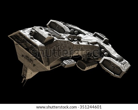Science fiction illustration of a spaceship isolated on a black background, front side view, 3d digitally rendered illustration
