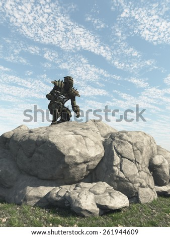 Science fiction illustration of an alien warrior scouting an enemy planet, 3d digitally rendered illustration - stock photo