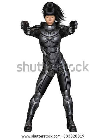 Science fiction illustration of an Asian female future soldier in protective armoured space suit, standing holding pistols, 3d digitally rendered illustration  - stock photo