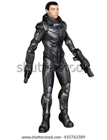 Science fiction illustration of an Asian male future soldier in protective armoured space suit, standing holding pistols, digital illustration (3d rendering)