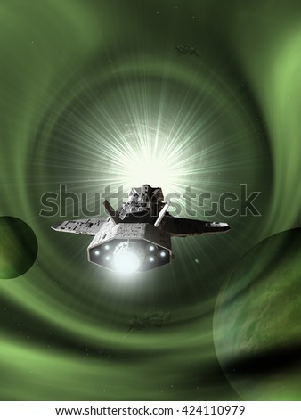 Science fiction illustration of an interplanetary spaceship approaching light speed entering a green wormhole in space, digital illustration (3d rendering)