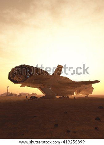 Science fiction illustration of an interplanetary spaceship unloading cargo at sunset on a desert planet, digital illustration (3d rendering) - stock photo