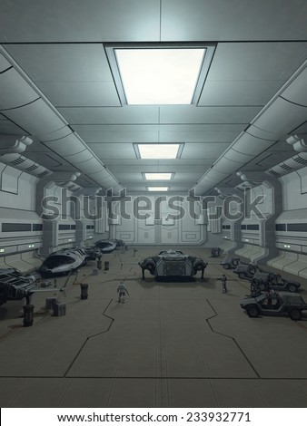 Science fiction illustration of futuristic space shuttle craft parked in a hanger bay on a space station, 3d digitally rendered illustration - stock photo