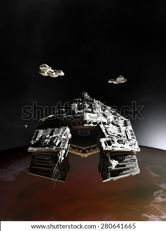 Science fiction illustration of spaceships in orbit around an alien planet, 3d digitally rendered illustration