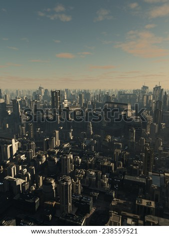 Science fiction illustration of the aerial view a future city in late afternoon light, 3d digitally rendered illustration - stock photo