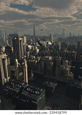 Science fiction illustration of the aerial view a future city in late afternoon light with a shuttle craft flying over the streets, 3d digitally rendered illustration - stock photo