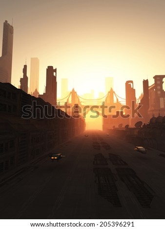 Science fiction illustration of the streets and bridge of a future city at sunrise, 3d digitally rendered illustration - stock photo