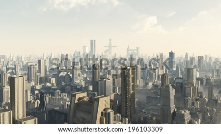 Science fiction illustration of the view across a futuristic sci-fi city, 3d digitally rendered illustration - stock photo