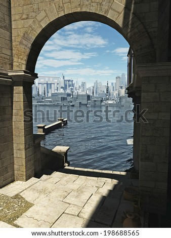 Science fiction illustration of the view through an archway in the old town across the bay to the modern buildings of the future city on a bright sunny day, 3d digitally rendered illustration - stock photo