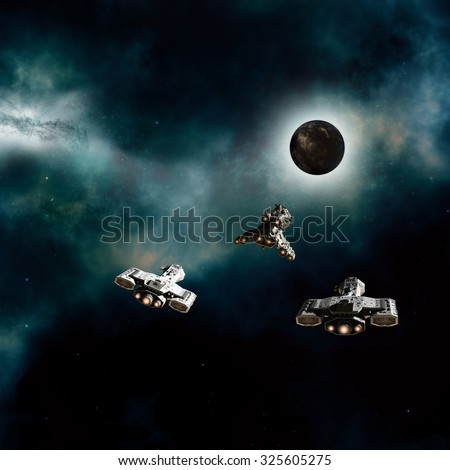 Science fiction illustration of three spaceships approaching a dark alien planet in deep space, 3d digitally rendered illustration - stock photo