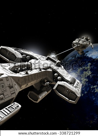 Science fiction illustration of two spaceships battling above an alien planet, 3d digitally rendered illustration