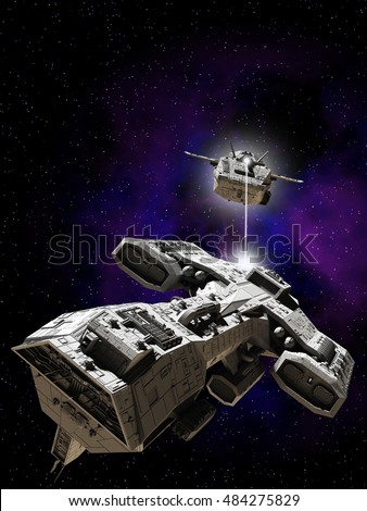 Science fiction illustration of two spaceships battling in outer space, digital illustration (3d rendering)