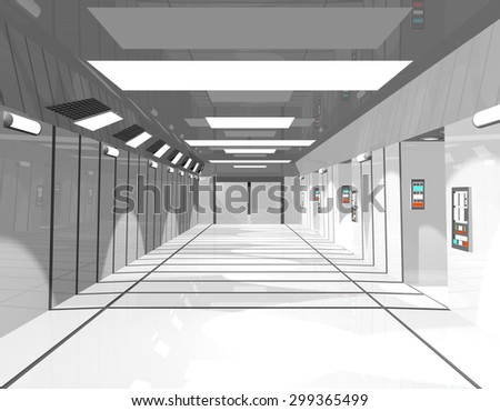 Science fiction interior - A 3D-Rendering - stock photo