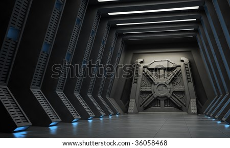 Science fiction interior - a hallway with reinforced gate. - stock photo