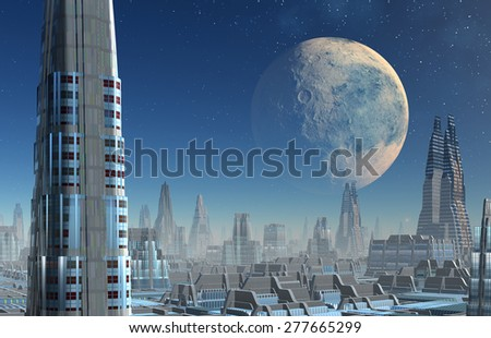 Science Fiction Landscape/Cityscape - stock photo