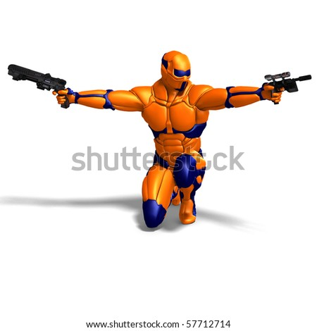 science fiction male character in futuristic suit. 3D rendering with clipping path and shadow over white - stock photo