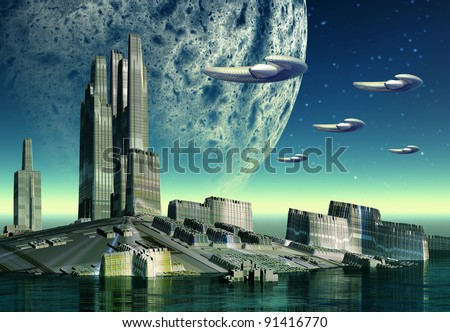 Science Fiction Scene with spaceships, alien planet with city and moon, fantasy world with buildings surrounded from water - stock photo