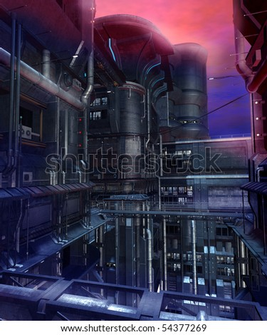 Science-fiction scenery of a futuristic city - stock photo