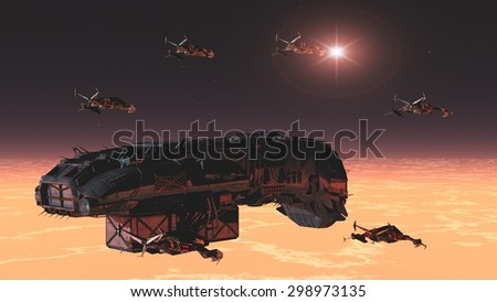 stock-photo-science-fiction-space-freigh