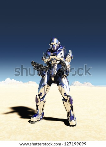 Science fiction space marine with bright metallic armour and two guns in a desert landscape with distant mountains, 3d digitally rendered illustration - stock photo