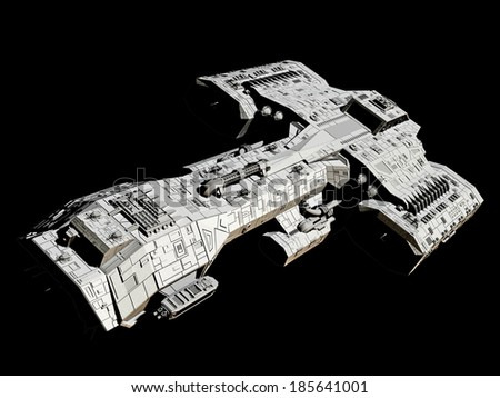 Science fiction spaceship isolated on a black background, front angled view, 3d digitally rendered illustration - stock photo