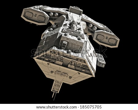 Science fiction spaceship isolated on a black background, front view, 3d digitally rendered illustration  - stock photo