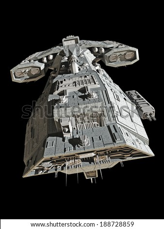 Science fiction spaceship isolated on a black background, top view, 3d digitally rendered illustration - stock photo