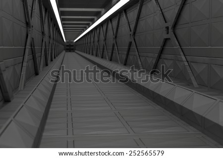 Science fiction tunnel with metal walls and floor - stock photo