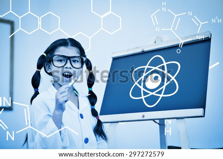 Science graphic against cute pupil dressed up as scientist in classroom - stock photo