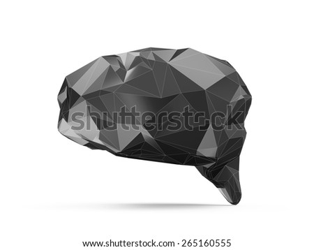 Science, Healthcare and Medical Concept. Abstract Black Fractal Geometric, Polygonal or Lowpoly Style 3D Human Brain isolated on white background - stock photo