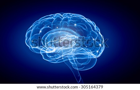 Science image with human brain on blue background - stock photo