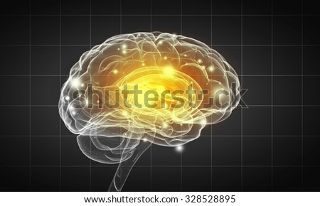 Science image with human brain on gray background - stock photo