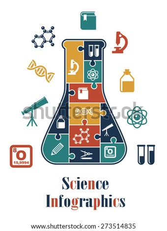 Science infographics with different scientific elements - stock photo